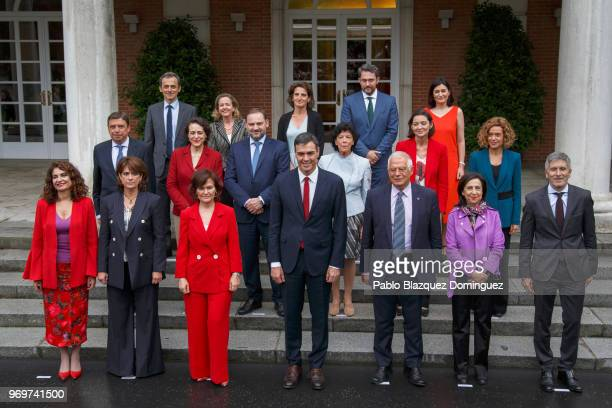 Spanish minister for finance Maria Jesus Montero, Spanish minister of justice Dolores Delgado, Deputy Prime Minister and minister of equality Carmen...