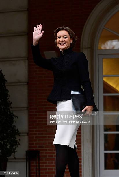 Spanish Minister of Agriculture Fishery Alimentation and Environmental Affairs Isabel Garcia Tejerina waves as she arrives to take part to the first...