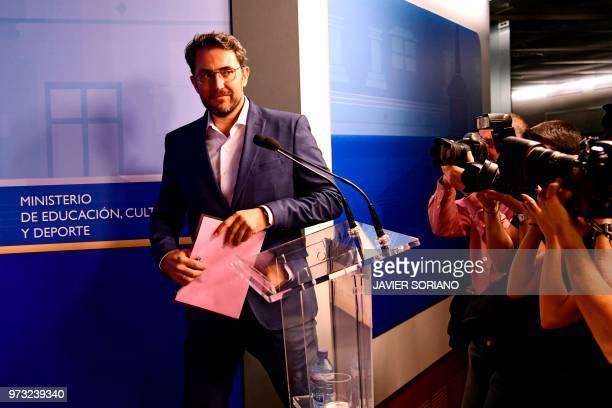 Spanish minister of culture and sports Maxim Huerta arrives to give a press conference at the Culture Ministery in Madrid on June 13 2018 Spain's...