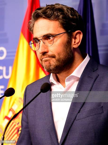 Spanish minister of culture and sports Maxim Huerta gives a press conference at the Culture Ministery in Madrid on June 13 2016 Spain's culture and...