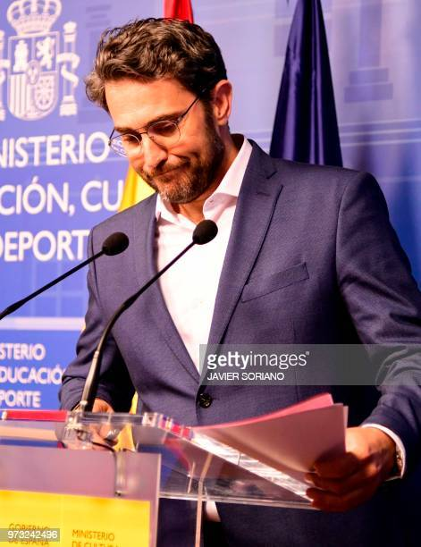 Spanish minister of culture and sports Maxim Huerta leaves after giving a press conference at the Culture Ministery in Madrid on June 13 2018 Spain's...