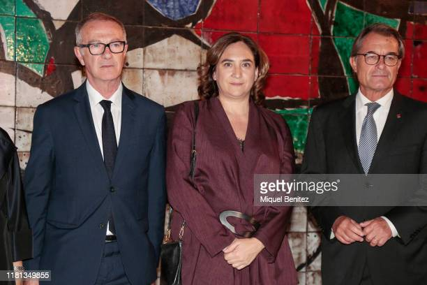 Spanish Minister of Culture in functions Jose Guirao, Barcelona's Major Ada Colau and 129th President of the Generalitat of Catalonia Artur Mas pose...