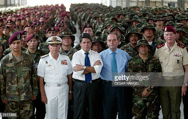 Spanish Minister of Defence Federico Trillo with members of the armies of Nicaragua Honduras El Salvador and the Dominican Republic peacekeeper...
