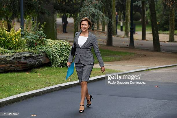 Spanish Minister of Defence Maria Dolores de Cospedal arrives to the prensentation of Rajoy's new Government at Moncloa Palace on November 4 2016 in...