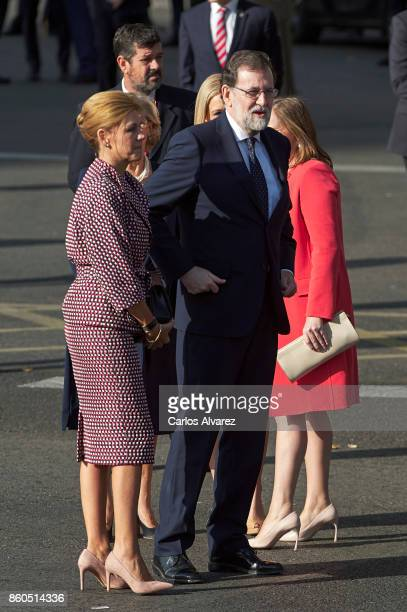Spanish Minister of Defence Maria Doroles de Cospedal and Spanish Prime Minister Mariano Rajoy attend the National Day Military Parade 2017 on...