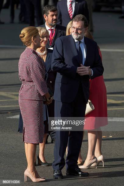 Spanish Minister of Defence Maria Doroles de Cospedal Mayor of Madrid Manuela Carmena and Spanish Prime Minister Mariano Rajoy attend the National...