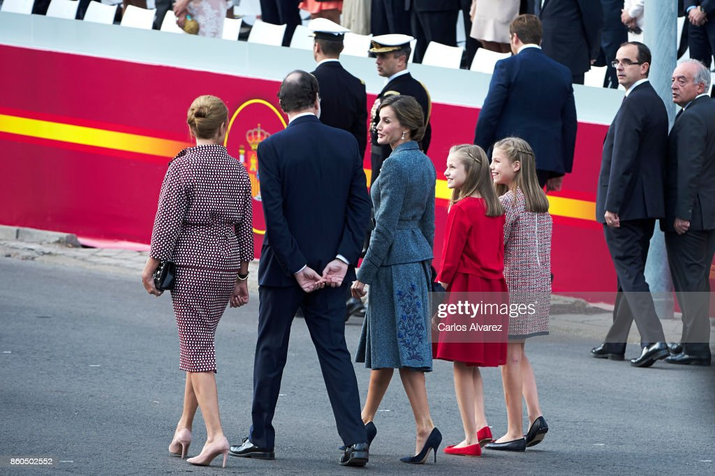 Spanish Minister of Defence Maria Doroles de Cospedal, Spanish Prime Minister Mariano Rajoy, Queen Letizia of Spain, Princess Leonor of Spain and Princess Sofia of Spain attend the National Day Military Parade 2017 on October 12, 2017 in Madrid, Spain.
