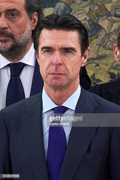 Spanish Minister of Development and Industry Jose Manuel Soria during an audience at Zarzuela Palace on April 13 2016 in Madrid Spain