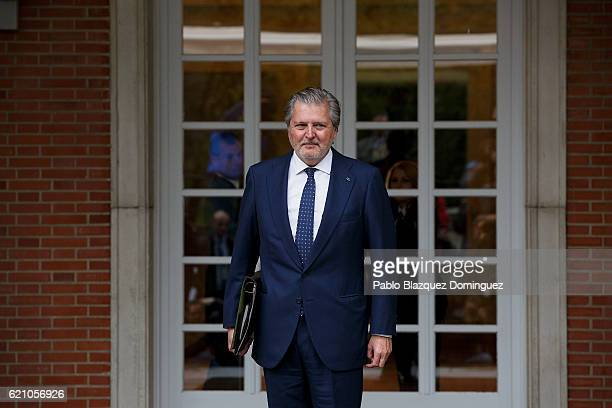 Spanish Minister of Education Culture and Sport and Spokesman Inigo Mendez de Vigo poses for photographers as he arrives to the prensentation of...
