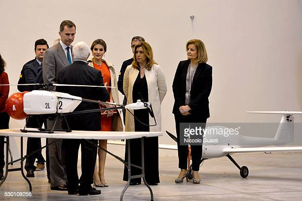 Spanish minister of employment and Social Security Fatima Baez President of the regional Government of Andalucia Susana Diaz Queen Letizia and King...