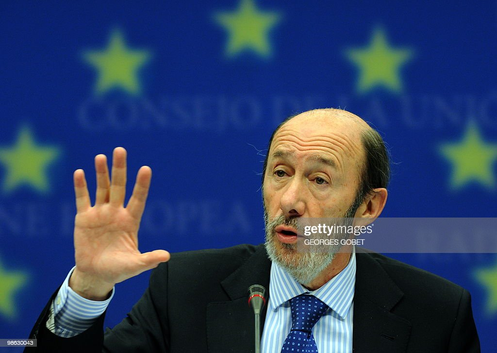 Spanish minister of Interior Alfredo Perez Rubalcaba and EU commissioner for Home Affairs Cecilia Malmström (not seen) give a joint press conference at the end of the Justice and Home Affairs Council meeting on April 23, 2010 at the EU headquarters in Brussels.