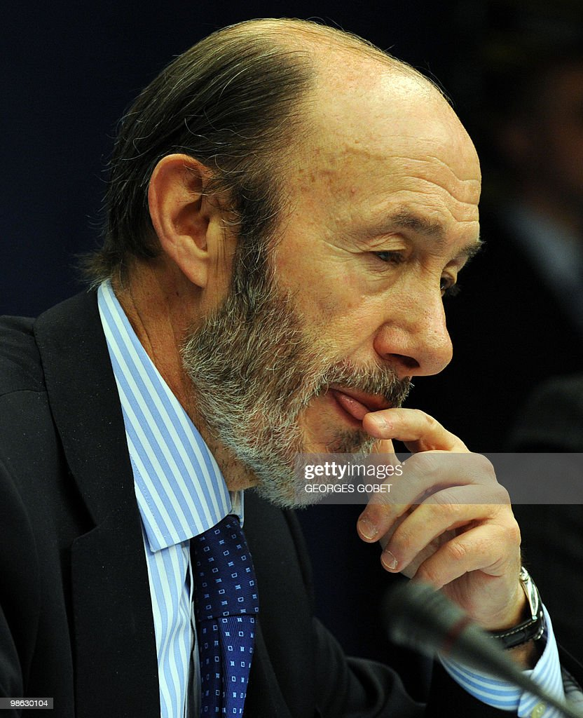 Spanish minister of Interior Alfredo Perez Rubalcaba gestures during a joint press conference at the EU commissioner for Home Affairs Cecilia Malmstrom (not seen) at the end of the Justice and Home Affairs Council meeting on April 23, 2010 at the EU headquarters in Brussels.