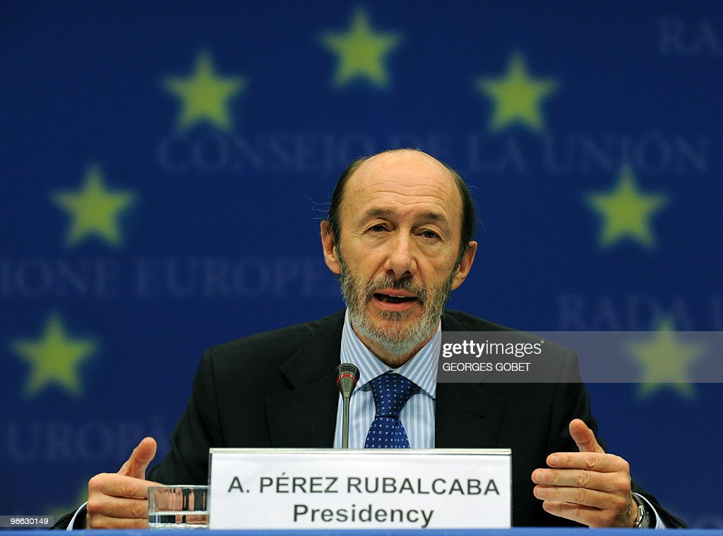 Spanish minister of Interior Alfredo Perez Rubalcaba gestures during a joint press conference with EU commissioner for Home Affairs Cecilia Malmström (not seen) at the end of the Justice and Home Affairs Council meeting on April 23, 2010 at the EU headquarters in Brussels.