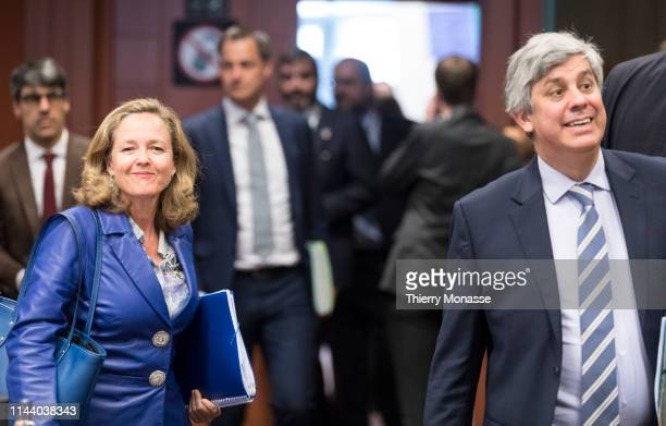 Spanish Minister of Minister of Economy, Industry and Competitiveness Nadia Calvino and the Portuguese Finance Minister, President of the group Mario...