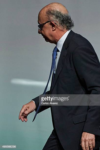 Spanish Minister of the Treasury and Public Administrations Cristobal Montoro attends the CEPYME 2015 Awards at the Reina Sofia Museum on November 4,...