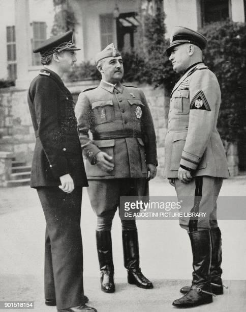 Spanish Minister Ramon Serrano Suner Francisco Franco and Benito Mussolini in Bordighera February 11 Italy World War II from L'Illustrazione Italiana...