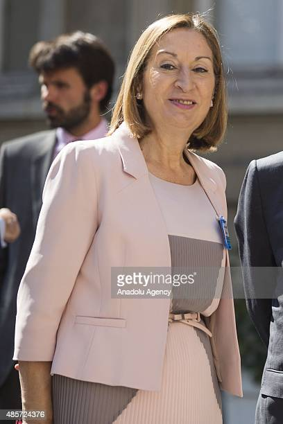 Spanish Ministry of Public Works and Transport Ana Pastor arrives for a meeting with European Interior and Transport ministers in Paris on August 29...
