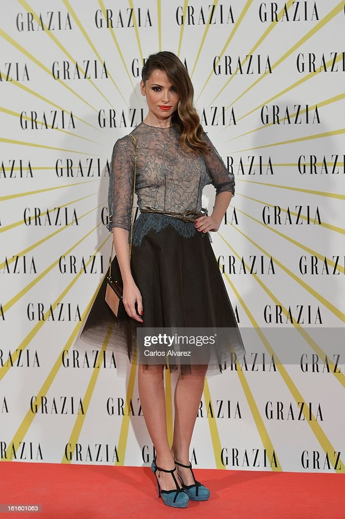 Spanish model Almudena Fernandez attends the 'Grazia' magazine launch party at the Price theater on February 12, 2013 in Madrid, Spain.