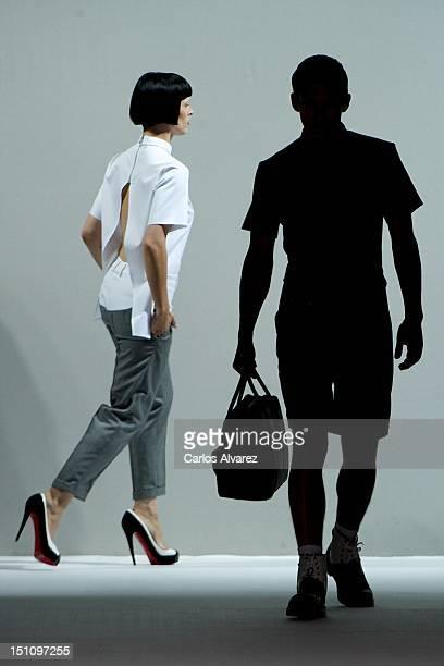 Spanish model Bimba Bose walks the runway in the Davidelfin fashion show during the Cibeles Madrid Fashion Week Spring/Summer 2013 at Ifema on...