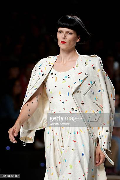Spanish model Bimba Bose walks the runway in the Davidelfin fashion show during the Cibeles Madrid Fashion Week Spring/Summer 2013 at Ifema on...