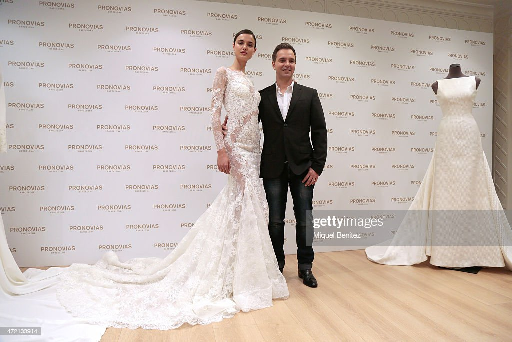 Spanish Model Blanca Padilla And French Designer Herve Moreau Pose During A Press Presentation For The