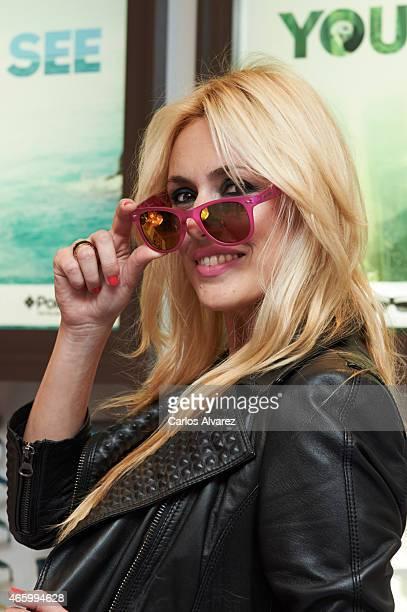 Spanish model Carolina Cerezuela presents the new Polaroid children sunglasses at the Opticas Roma store on March 12 2015 in Madrid Spain