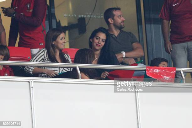 Spanish Model Georgina Rodriguez and Cristiano Ronaldo Junior during the match between Portugal and Switzerland for FIFA 2018 World Cup Qualifier at...
