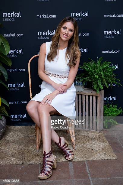 Spanish model Helen Lindes presents the new Merkal spring/summer collection at 'El Jardin del Angel' on April 16 2015 in Madrid Spain