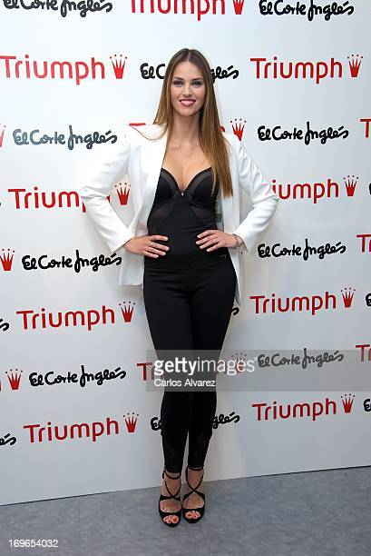 Spanish model Helen Lindes presents the Shape Sensation new Triumph collection at the Corte Ingles Serrano store on May 30 2013 in Madrid Spain