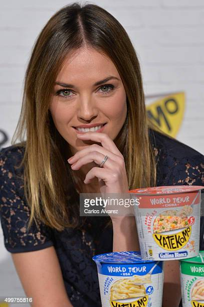 Spanish model Helen Lindes presents the Yatekomo World Tour new products at the Milk Studio on December 3 2015 in Madrid Spain