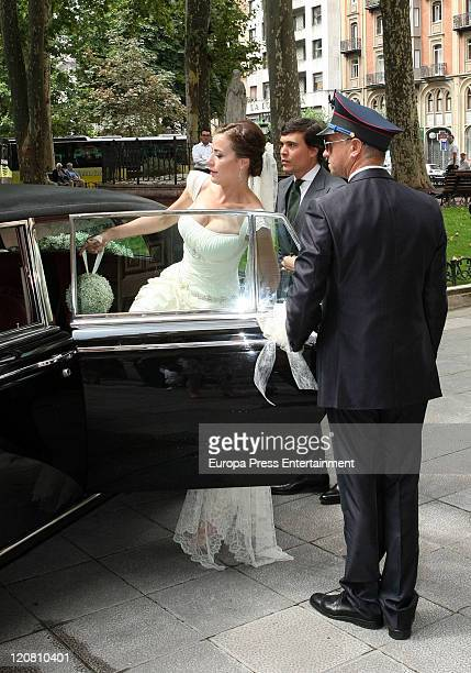 Spanish model Ines Sainz and her husband Christian Martin Perez Carrion attend their wedding at the San Vicente Abando Chapel on August 10 2011 in...