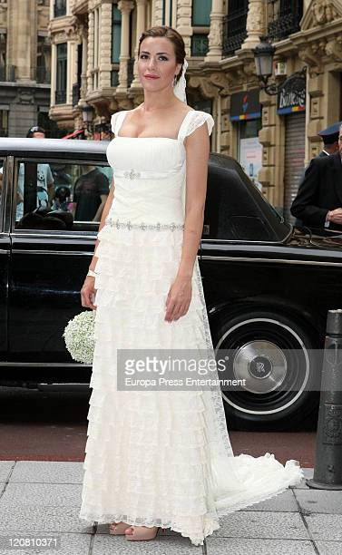 Spanish model Ines Sainz attend her wedding at the San Vicente Abando Chapel on August 10 2011 in Bilbao Spain