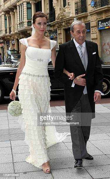 Spanish model Ines Sainz whith her father are seen at her wedding at the San Vicente Abando Chapel on August 10 2011 in Bilbao Spain