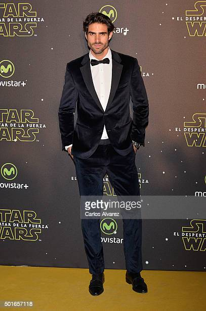 Spanish model Juan Betancourt attends the 'Star Wars The Force Awakens' premiere at the Callao cinema on December 16 2015 in Madrid Spain