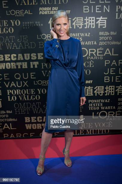 Spanish model Judit Masco attends the L'Oreal Paris Stand during the MercedesBenz Fashion Week Madrid Spring/Summer 2019 at IFEMA on July 10 2018 in...