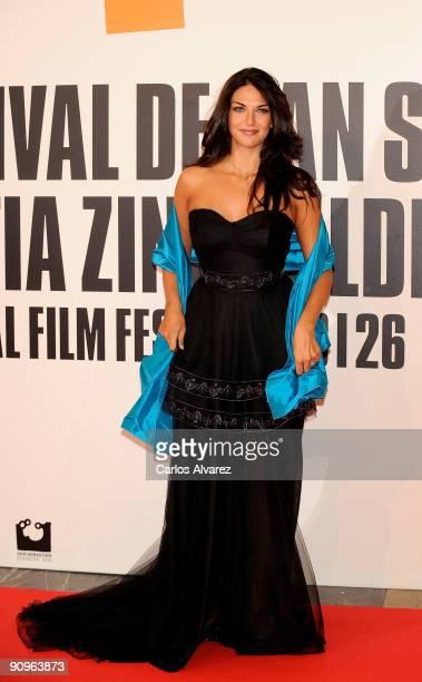 Spanish model Lorena Bernal attends the Chloe premiere at Kursaal Palace during the 57th San Sebastian International Film Festival on September 18...