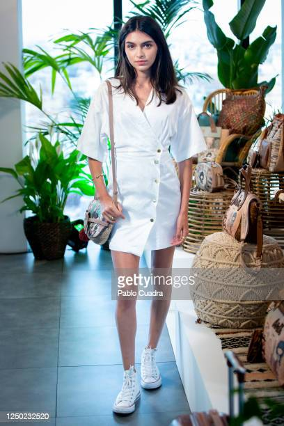 Spanish model Lucia Rivera presents Anekke's new bag collection on June 17, 2020 in Madrid, Spain. This is the first photocall in Spain since the...