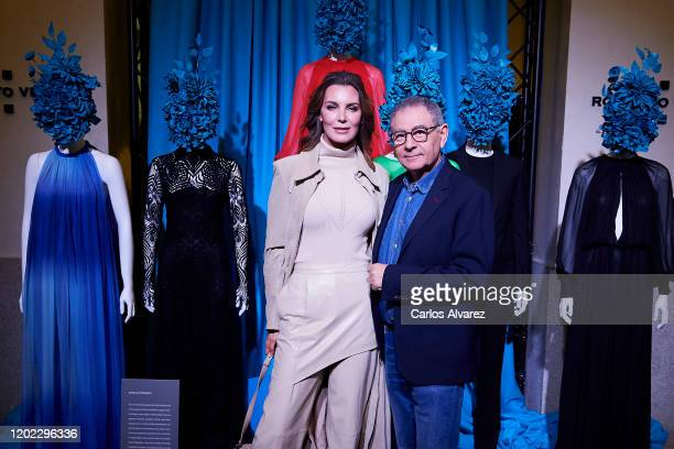 Spanish model Mar Flores and Spanish designer Roberto Verino attend the Roberto Verino fashion presentation during Mercedes Benz Fashion Week Madrid...