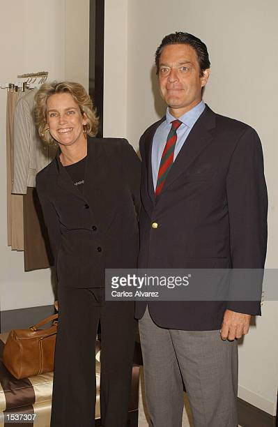 Spanish model Maria Suelves and her husband attend attends the opening of designer Carolina Herrera's new boutique April 29 2002 in Madrid Spain