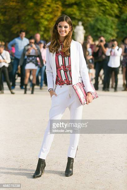 Spanish model Marta Ortiz exits the Elie Saab show at the Tuileries on Day 7 of Paris Fashion Week Spring/Summer 2015 on September 29 2014 in Paris...