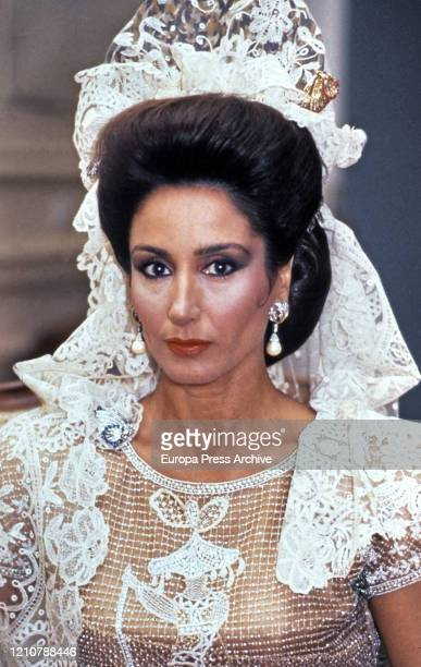 Spanish model Naty Abascal during the wedding of the Huescar Dukes Carlos FitzJames Stuart and Matilde de SolisBeaumont MartínezCampos at the...