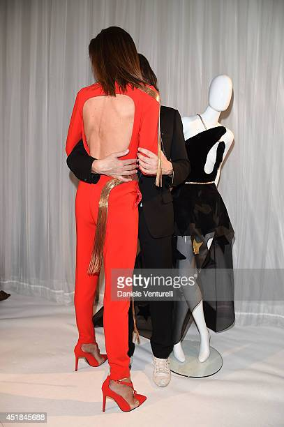 Spanish model Nieves Alvarez and French fashion designer Stephane Rolland attend at Stephane Rolland show as part of Paris Fashion Week - Haute...