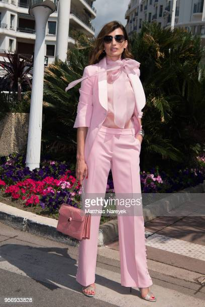 Spanish model Nieves Alvarez poses on the Croisette during the 71st annual Cannes Film Festival at on May 10 2018 in Cannes France