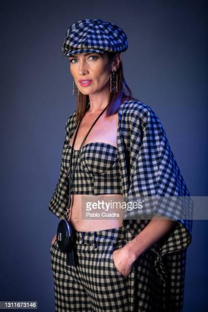 Spanish model Nieves Álvarez prepares backstage prior to the catwalk of Spanish designer Maite by Lola Casademunt show during Mercedes Benz Fashion...