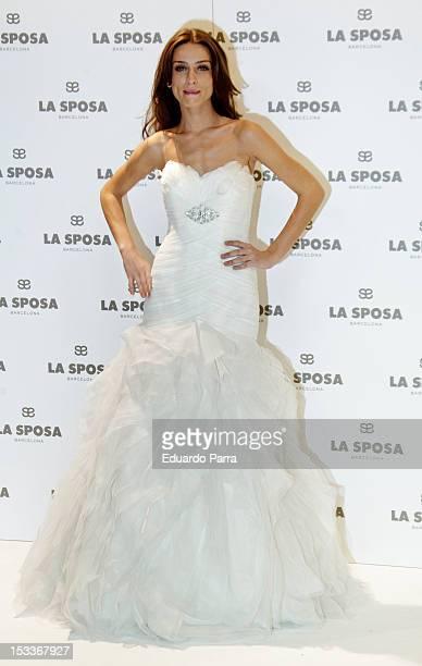Spanish model Raquel Jimenez presents La Sposa collection 2013 at Q17 studio on October 4 2012 in Madrid Spain