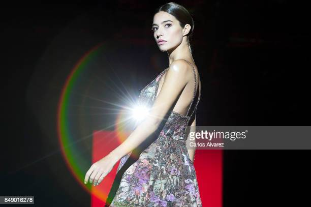Spanish model Rocio Crusset model walks the runway at the Hannibal Laguna show during the MercedesBenz Fashion Week Madrid Spring/Summer 2018 at...