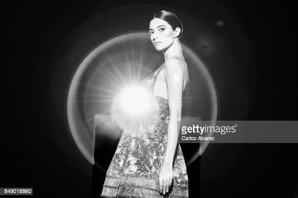 Spanish model Rocio Crusset model walks the runway at the Hannibal Laguna show during the MercedesBenz Fashion Week Madrid Spring/Summer 2018 at...