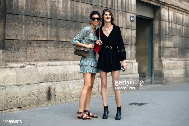 Spanish models Ana Arto Lucia Lopez after Elie Saab during Couture Fall/Winter 2018 Fashion Week on July 4 2018 in Paris France Ana wears a green...