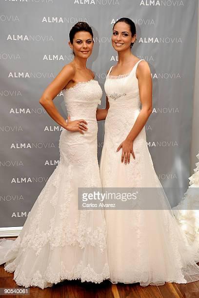 2b4cbb85ea Spanish models Maria Jose Suarez and Estiabaliz Pereira present Alma Novia  Bridal collection at Casa Palacio