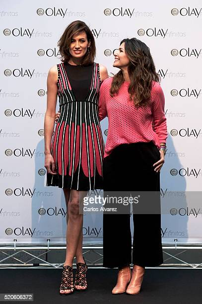 Spanish models Nieves Alvarez and Nuria Roca present 'Mujeres Ynfinitas' by Olay at Casa Encendida cultural center on April 12 2016 in Madrid Spain